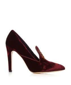 SANAYI 313 | Mini Ragno Bee-Embroidered Velvet Pumps