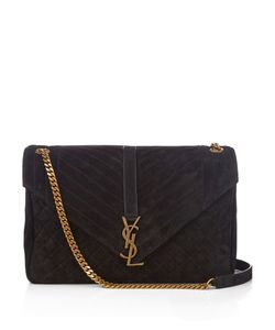 Saint Laurent | Monogram Large Quilted-Suede Shoulder Bag