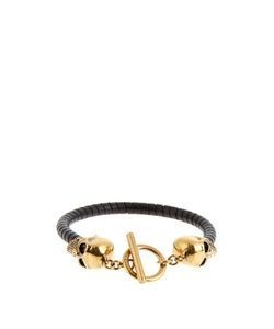Alexander McQueen   Skull And Twisted-Leather Bracelet
