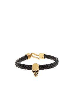 Alexander McQueen   Skull And Woven-Leather Bracelet