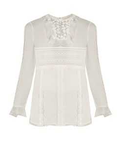 Giambattista Valli | Lace-Panelled Silk-Georgette Blouse