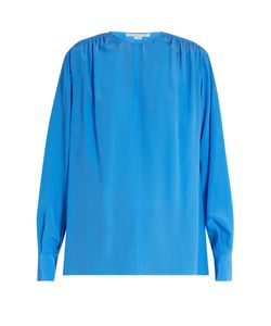 Stella Mccartney | Gathered Round-Neck Silk Blouse