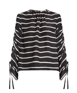 Preen By Thornton Bregazzi | Will Ruched Striped Washed-Silk Top