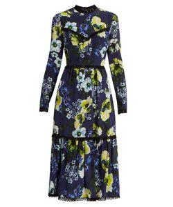 Erdem | Georgie Hasu Night-Print Silk-Crepe Dress