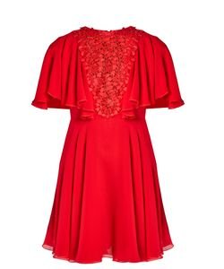 Giambattista Valli | Lace-Panelled Ruffled Silk-Georgette Dress