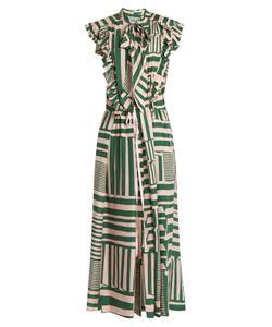 Preen By Thornton Bregazzi | Willa Geometric Striped-Print Silk Midi Dress