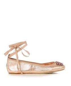 Jimmy Choo | Grace Embellished Leather Ballet Flats