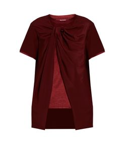 SIES MARJAN | Twisted-Front Silk-Crepe And Satin Top