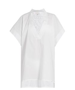 Lila Eugenie | 17201 Lace-Insert Cotton-Blend Kaftan