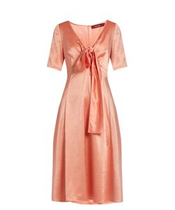 SIES MARJAN | Tie-Front V-Neck Satin Dress