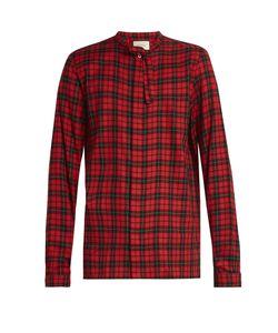 Gucci | Tie-Neck Checked Button-Cuff Shirt