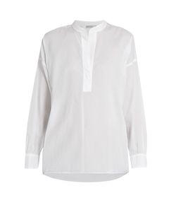 Vince | Collarless Gathered-Back Cotton Shirt