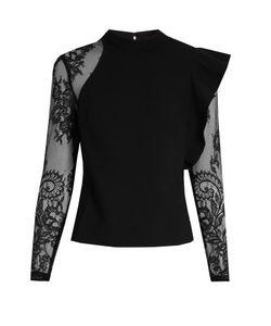 SELF-PORTRAIT | Ophelia Ruffled Lace-Sleeved Blouse