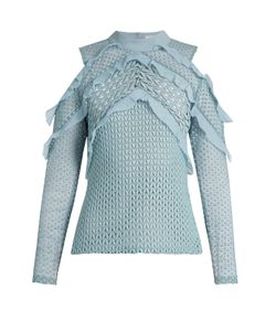 SELF-PORTRAIT | Purl Knit Lace Cut-Out Shoulder Top