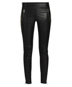Alexander McQueen | Silk Side-Striped Leather Trousers