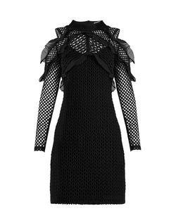 SELF-PORTRAIT | Purl Knit Lace Cut-Out Shoulder Dress