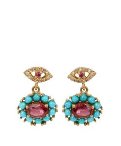 Ileana Makri | Diamond Ruby Sapphire Turquoise Earrings
