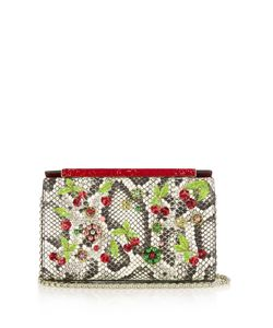 Christian Louboutin | Vanite Cherry-Embroidered Snakeskin Clutch