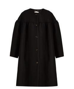 Chloe | Collarless Ruffle-Trimmed Wool-Blend Coat