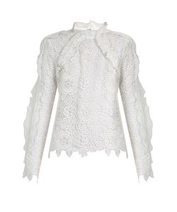 SELF-PORTRAIT | Cut-Out Lace Ruffled Top