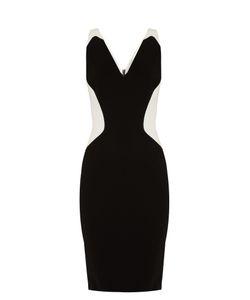 Mugler | V-Neck Bi-Colour Cady Dress