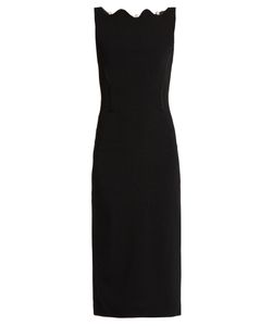 OSMAN | Scarlett Scalloped-Neck Crepe Dress
