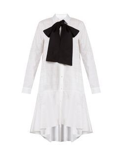 OSMAN | Amelia Neck-Tie Cotton-Jacquard Shirtdress