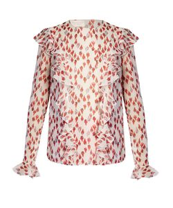 Giambattista Valli | Flower-Bud Print Ruffled Silk-Georgette Blouse