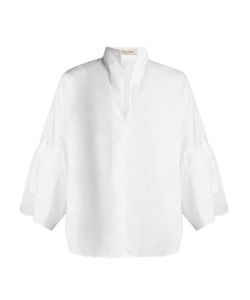 Valentino | High-Neck Wide-Sleeve Poplin Shirt