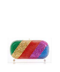 Sarah's Bag | Rainbow Pill Glitter Perspex Clutch