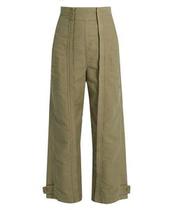 Chloe | Topstitched Wide-Leg Cotton Trousers