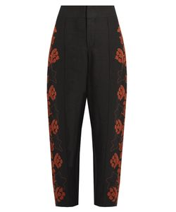 Chloe | -Embroidered High-Rise Linen Trousers