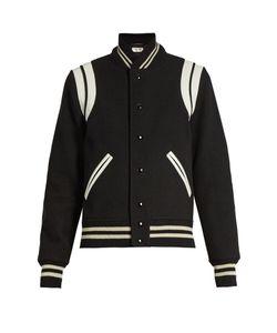 Saint Laurent   Bi-Colour Wool-Blend Bomber Jacket