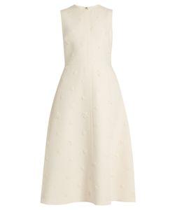 Valentino | Daisy-Appliqué Cape-Overlay Crepe Midi Dress