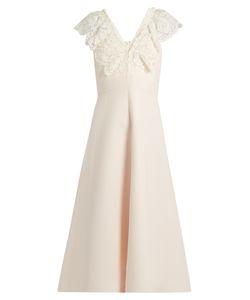 Valentino | Lace-Overlay Crepe Midi Dress