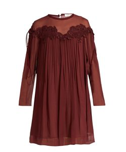 Chloe | Lace-Appliqué Brushed Silk-Georgette Dress