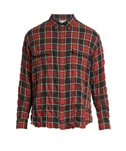 Saint Laurent | Checked Distressed-Flannel Shirt