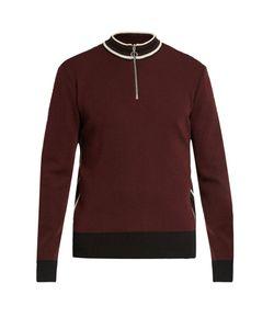 Ami   Striped-Collar Wool Sweater