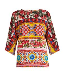 Dolce & Gabbana | Caretto-Print Stretch-Silk Top