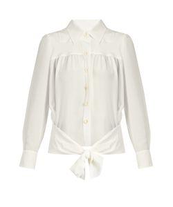 Chloe | Point-Collar Tie-Waist Silk Shirt
