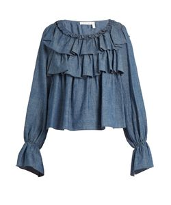 See By Chloe | Ruffle-Trimmed Cotton-Blend Chambray Top