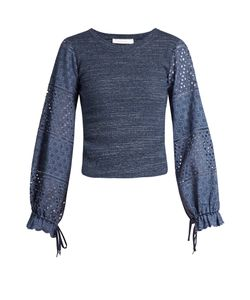 See By Chloe | Broderie-Anglaise Blouson-Sleeved Top
