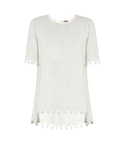 Adam Lippes | Pompom-Trimmed Crepe Top