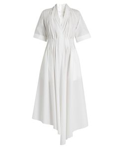 Adam Lippes | V-Neck Gathered Cotton Dress