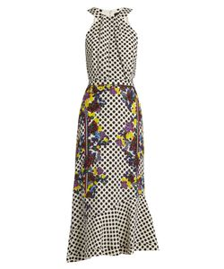 Saloni | Ruby Polka-Dot And Print Silk Dress