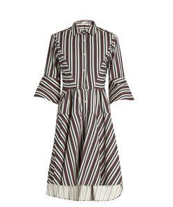 PALMER/HARDING | Flounce-Sleeve Striped Cotton-Blend Shirtdress