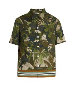 Valentino | Tropical-Print Short-Sleeved Cotton Shirt