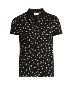 Saint Laurent | Star And Moon-Print Cotton-Piqué Polo Shirt