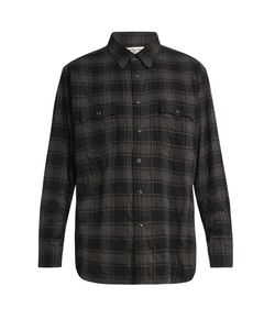 Saint Laurent | Distressed Checked Cotton-Blend Flannel Shirt