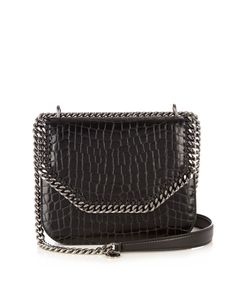 Stella Mccartney   Falabella Crocodile-Effect Faux-Leather Box Bag